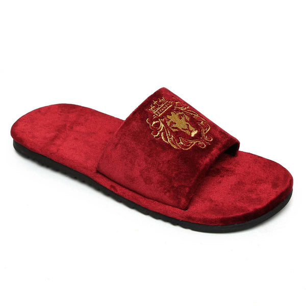 Maroon Two Tone Full Velvet Lion Embroidery Slippers By Bareskin