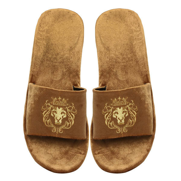 Tan Two Tone Full Velvet Lion Embroidery Slippers By Bareskin