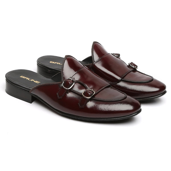 Wine Leather Mules with Double Monk by Brune & Bareskin