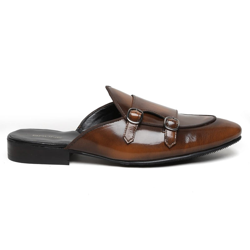 Tan Genuine Leather Mules By Brune