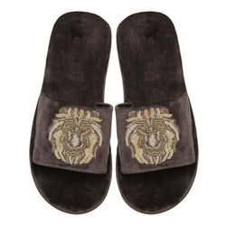 Zardosi Lion Grey All Velvet Men Slide In Slippers By Bareskin