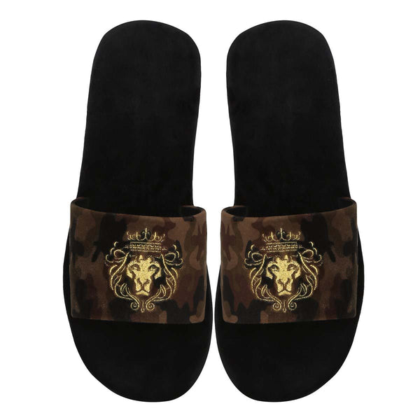Camouflage Full Velvet Lion Embroidered Slide-In Slippers By Bareskin