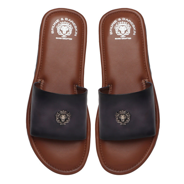 Grey Leather Signature Metal Lion Slide-In Slippers By Bareskin