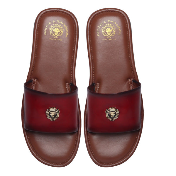Wine Leather Signature Metal Lion Slide-In Slippers By Bareskin