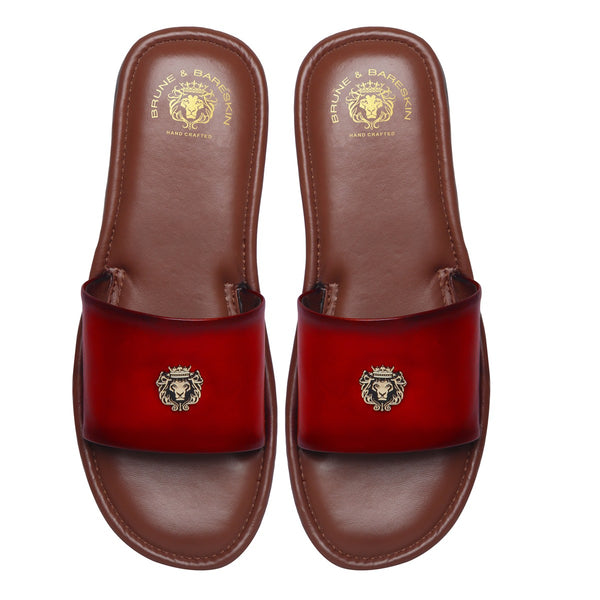 Red Leather Signature Metal Lion Slide-In Slippers By Bareskin