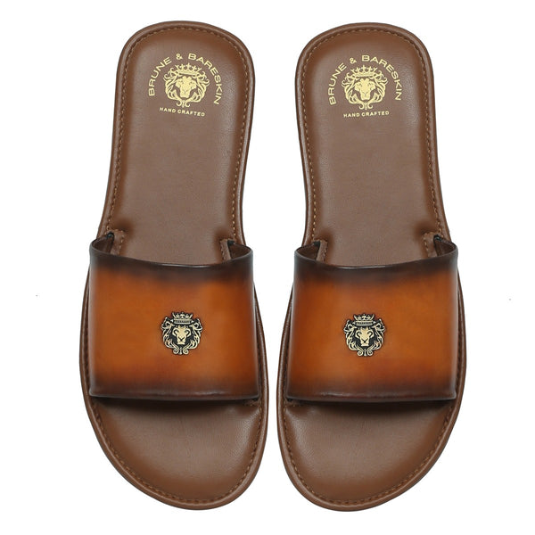 Tan Genuine Leather Slippers By Bareskin