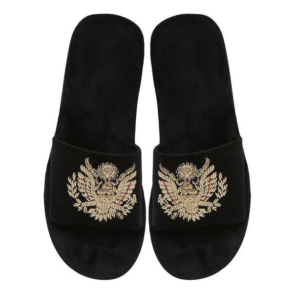 Black Royal Crest Zardosi All Velvet Slide In Slippers By Bareskin