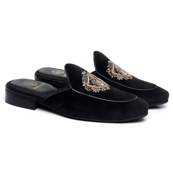 Black Italian Velvet Golden Crest Zardosi Mules By Brune