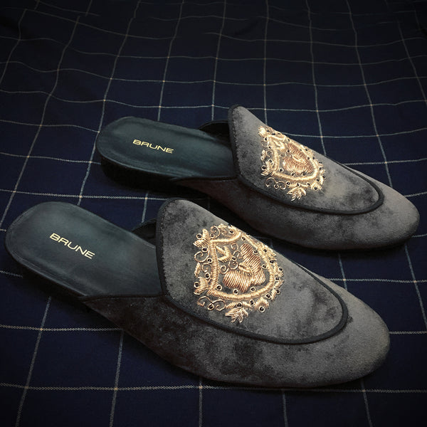 Grey Velvet Golden Crest Zardosi Mules By Brune
