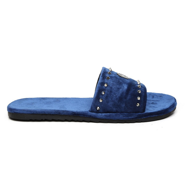 Studded Lion Plate Blue Velvet Slippers by BARESKIN
