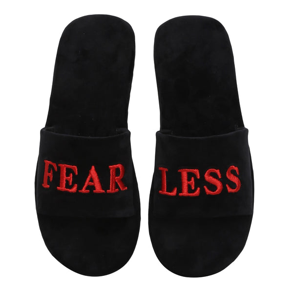 Red Fear-Less Black Full Velvet Slide-In Slippers By Bareskin