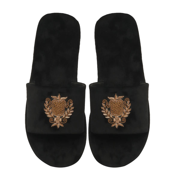 Black Velvet Ethnic Crest Zardosi Slide-In Slippers By Bareskin
