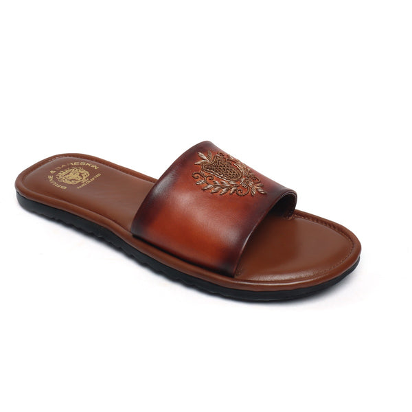 Tan Leather Ethnic Crest Zardosi Slide-In Slippers By Bareskin
