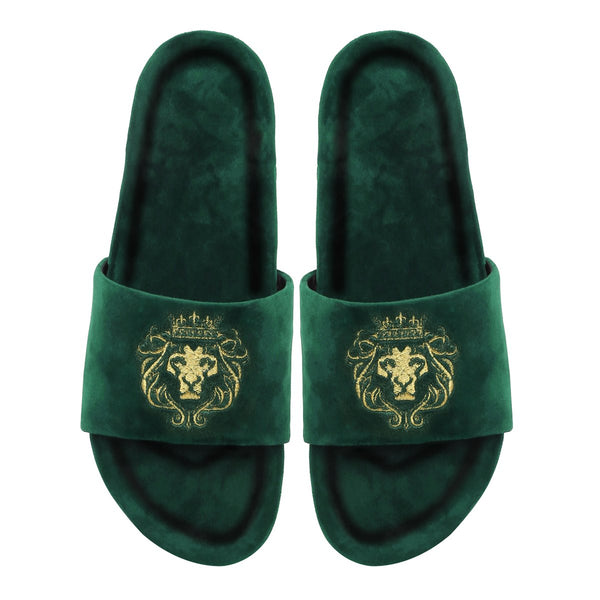 Hale | Golden Lion Green Velvet Slide-In Slippers By Bareskin