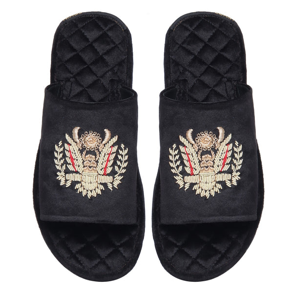 Crown Eagle Zardosi Black Velvet Super Soft Quilted Base Slide-in Slippers by Brune & Bareskin