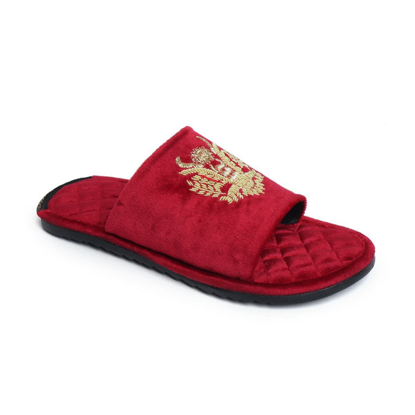Crown Eagle Zardosi Red Velvet Super Soft Quilted Base Slide-in Slippers by Brune & Bareskin