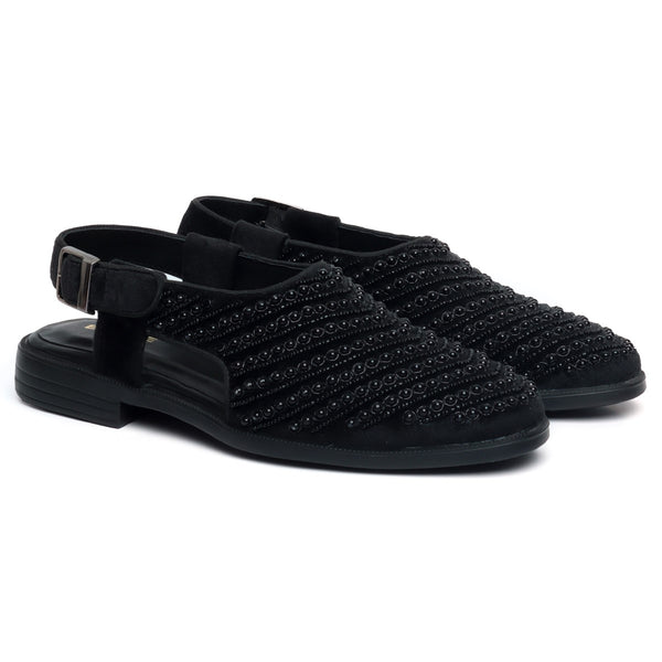 Black Italian Velvet Beads Work Peshawari Sandals For Men By Brune