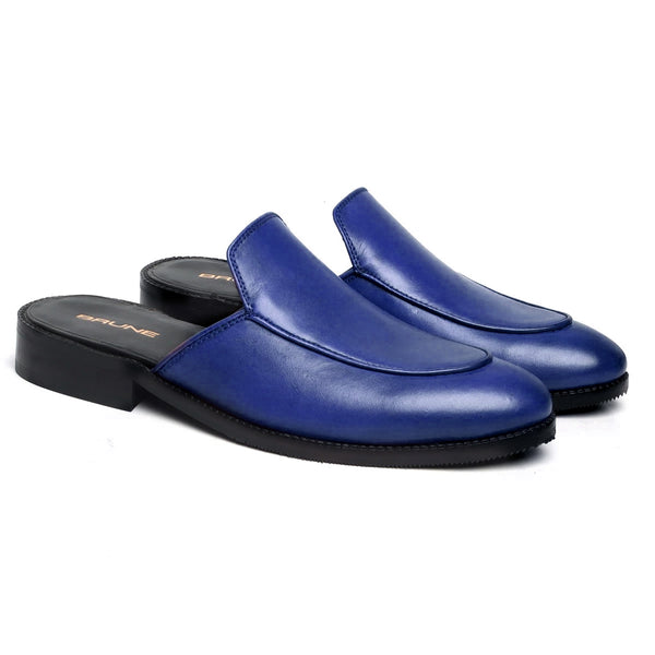 Blue Leather Mules (Summer Special) by brune & Bareskin