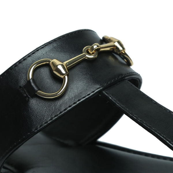 Black Horsebit Detail Genuine Leather Slippers By Brune