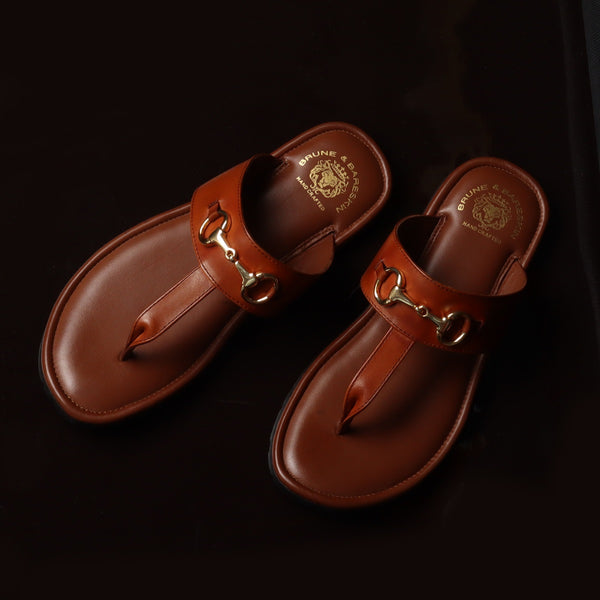 Tan Horsebit Detailed Genuine Leather Slippers By Brune