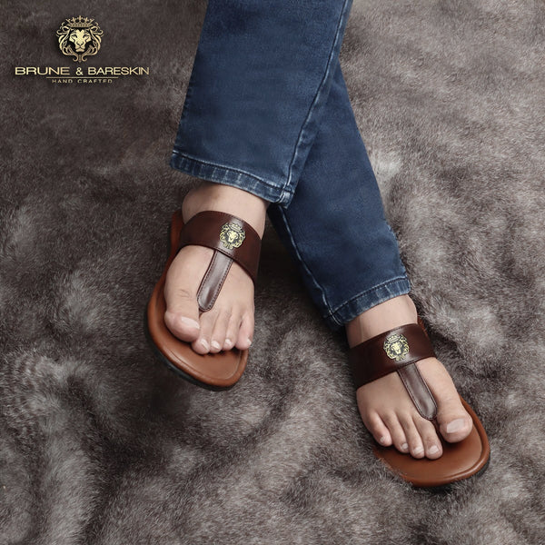 Tan-Brown Strap Leather Slippers With Metal Lion Logo By Brune & Bareskin