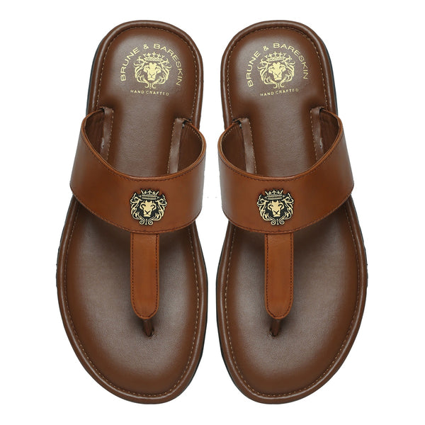 Tan Genuine Leather Slippers With Metal Lion Logo By Brune & Bareskin
