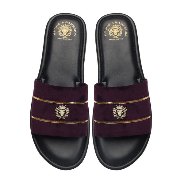 Purple Velvet Strap with Black Leather Comfy Base Slide-in Slippers by Brune & Bareskin