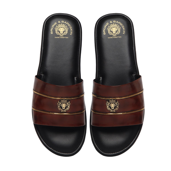 Brown Brush Off Leather With Signature Metal Lion Slide-In Slippers By Bareskin