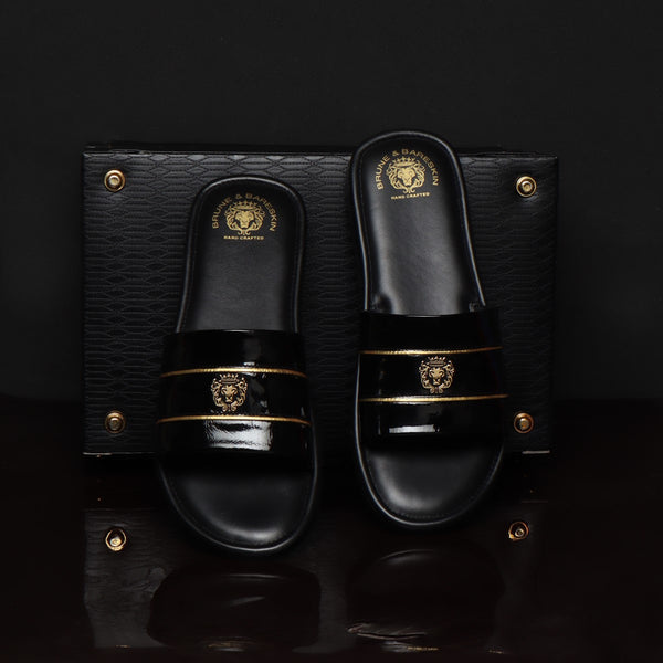 Black Patent Leather With Signature Metal Lion Slide-In-Slippers by BRUNE BY BARESKIN