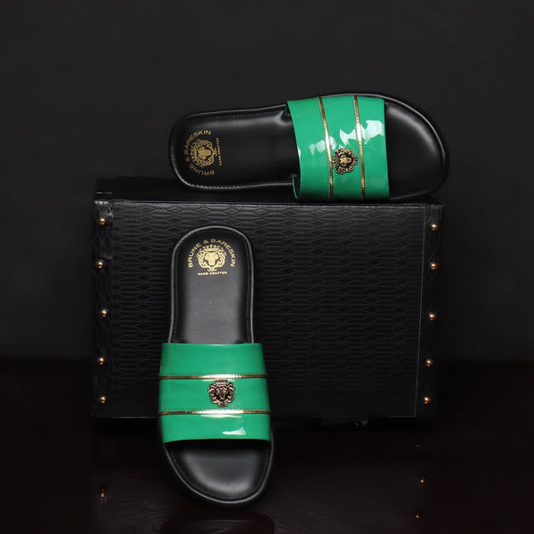 Sea Green Patent Leather Slide-In-Slippers With Golden Stripes by Brune & Bareskin