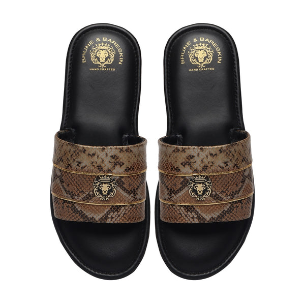Snake Print Leather With Golden Stripes Slide-In-Slippers by Brune & Bareskin