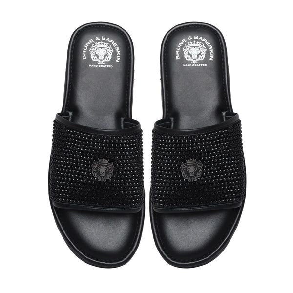 Black Beads Work Leather Slide-in Slippers by BRUNE & BARESKIN