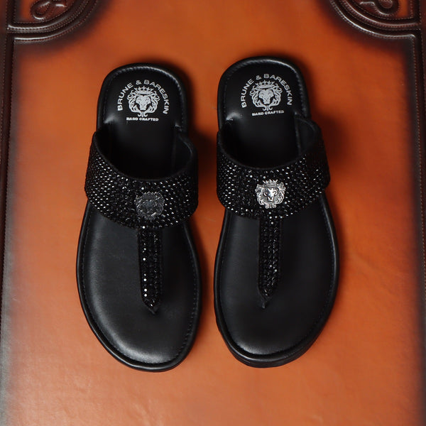 Black Leather Beads Work Slippers For Men By Brune