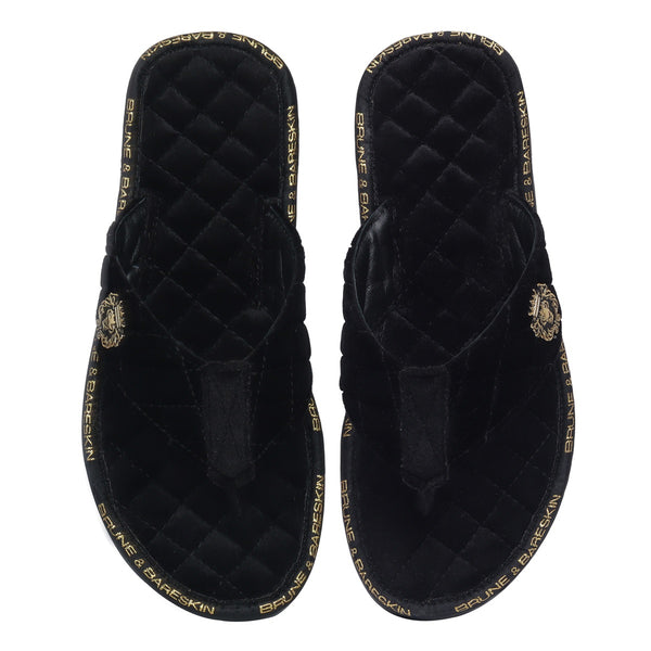 V-Shaped Black Brand Lining Velvet Quilted Slippers with Lion Logo by Brune & Bareskin