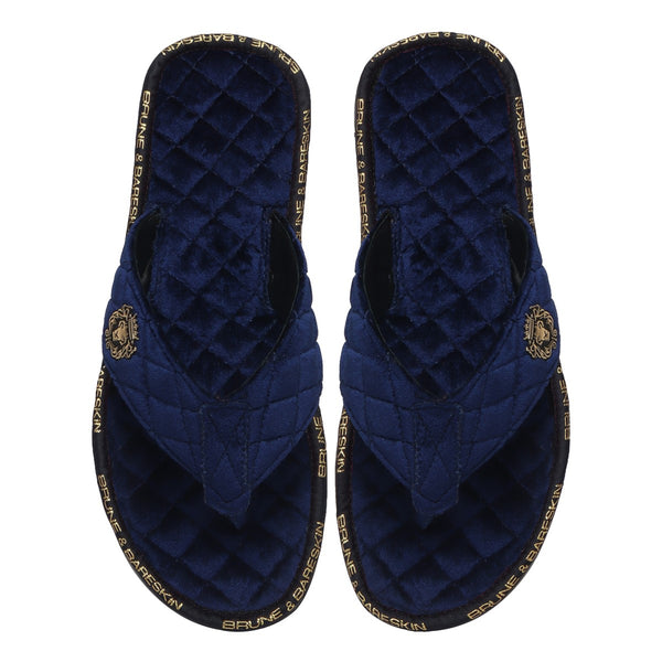 V-Shaped Blue Brand Lining Velvet Quilted Slippers with Lion Logo by Brune & Bareskin