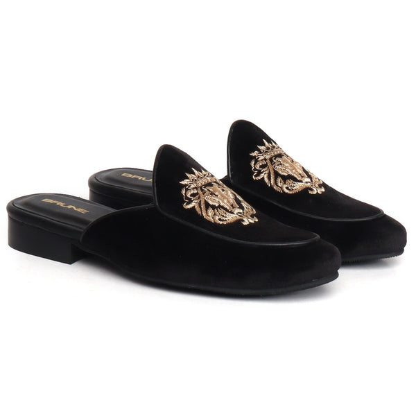 Black Velvet With Golden Zardosi Embroidery Mules With Lion Logo By Brune & Bareskin