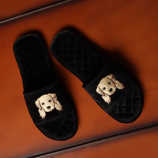 Cute Puppy Icon Black Velvet Slipper by Brune & Bareskin