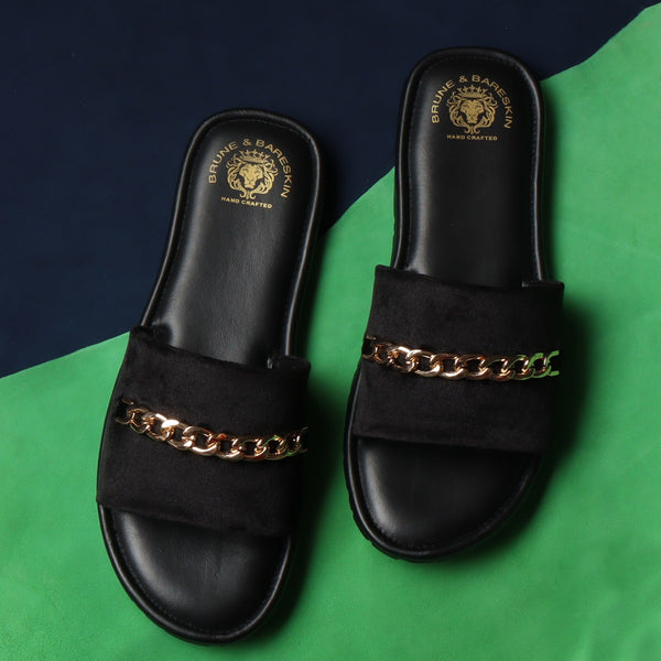 Black Velvet Chain Slide-In-Slippers by Brune & Bareskin