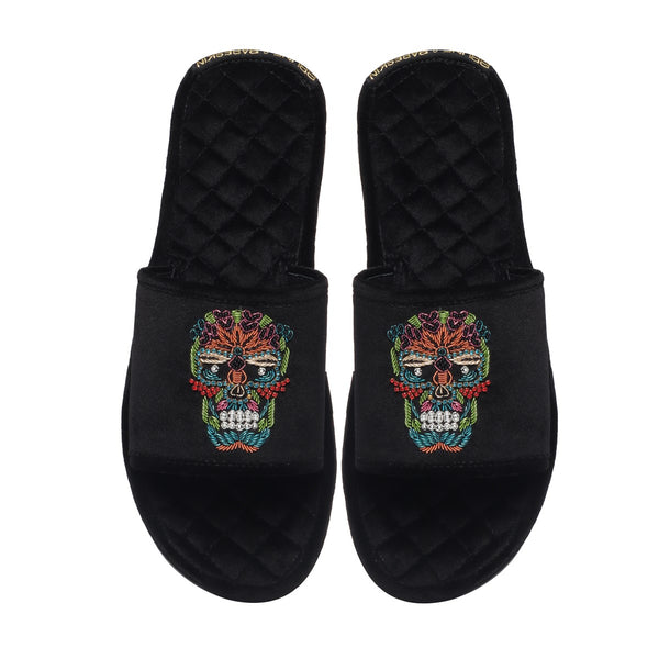 Skull Zardosi Quilted Super Soft Base Velvet Slide-in Slippers By Bareskin