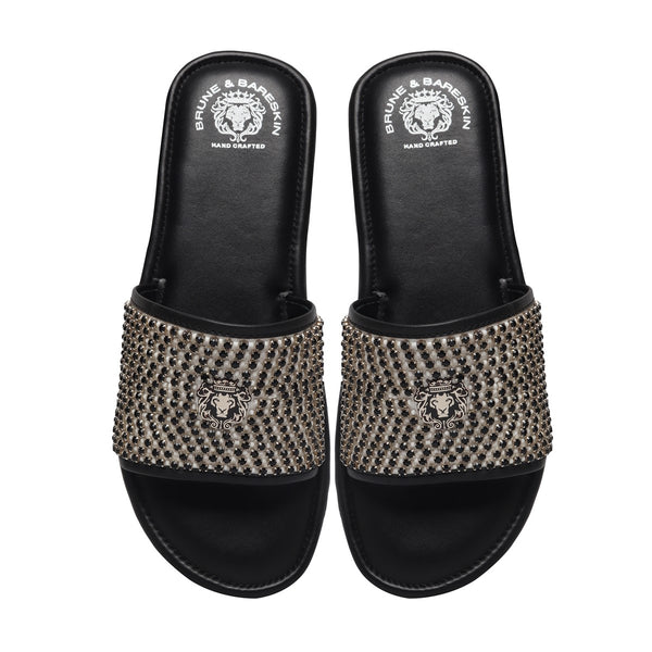 Black Stones On White Leather Strap Ethnic Slide-In-Slippers by Brune & Bareskin
