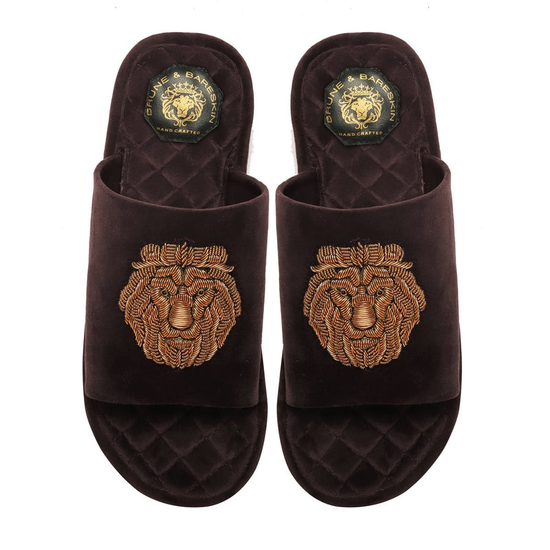 Brown Quilted Base Lion Zardosi Men Velvet Slide In Slippers By Bareskin