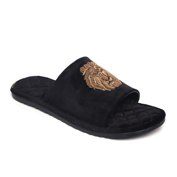 Black Quilted Base Lion Zardosi Men Velvet Slide In Slippers By Bareskin