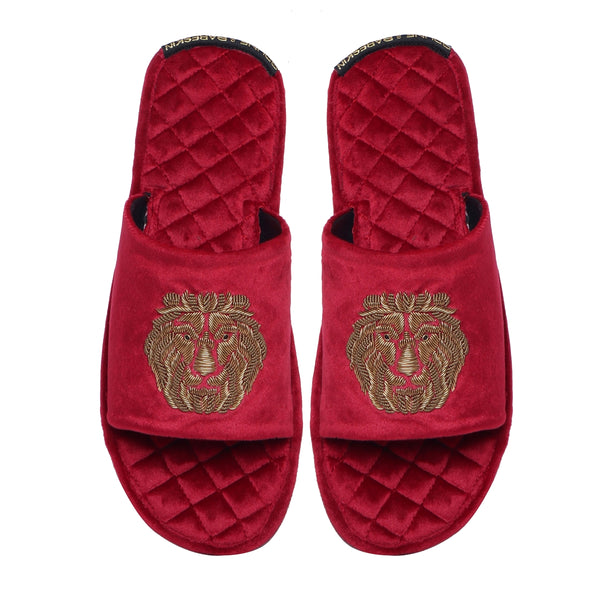 Red Quilted Base Lion Zardosi Men Velvet Slide In Slippers By Bareskin