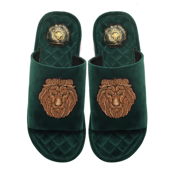 Green Quilted Base Lion Zardosi Men Velvet Slide In Slippers By Bareskin