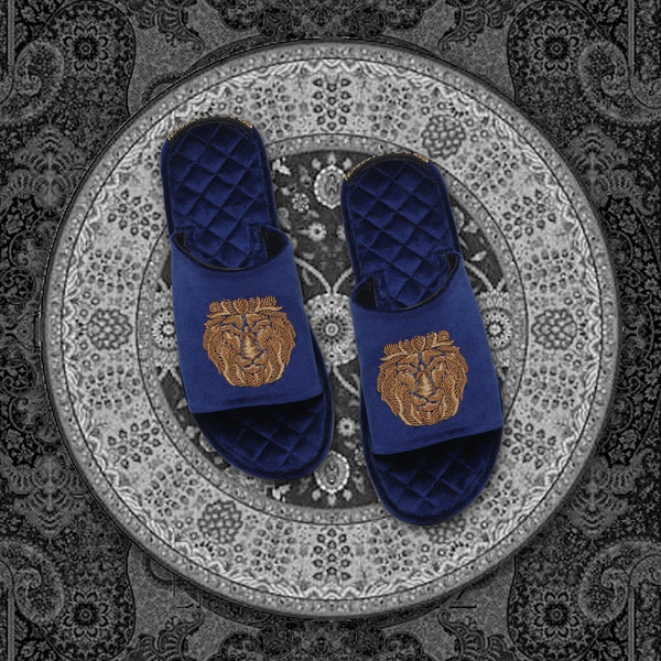 Blue Quilted Base Lion Zardosi Men Velvet Slide In Slippers By Bareskin