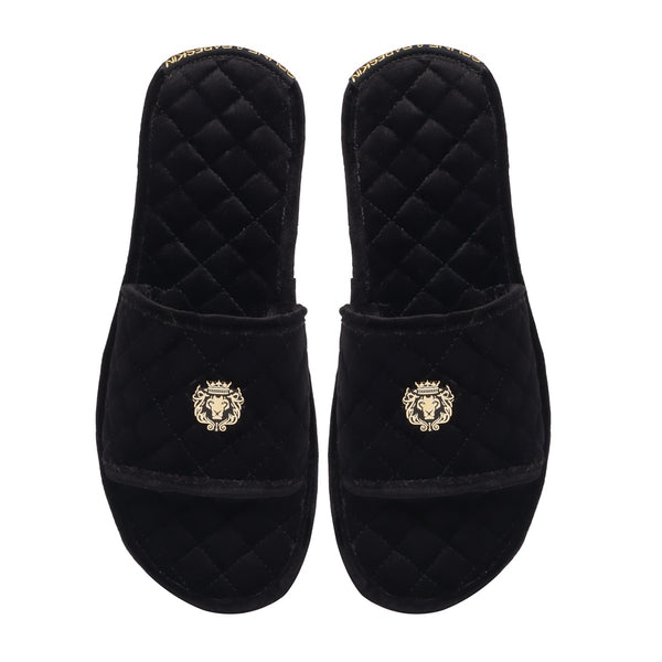 Black Full Quilted Stitched Super Soft Italian Velvet Slide-in Slippers By Bareskin