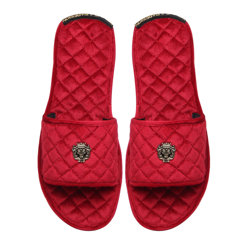 Red Full Quilted Stitched Super Soft Italian Velvet Slide-in Slippers By Bareskin