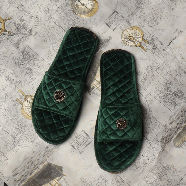 Green Full Quilted Stitched Super Soft Italian Velvet Slide-in Slippers By Bareskin