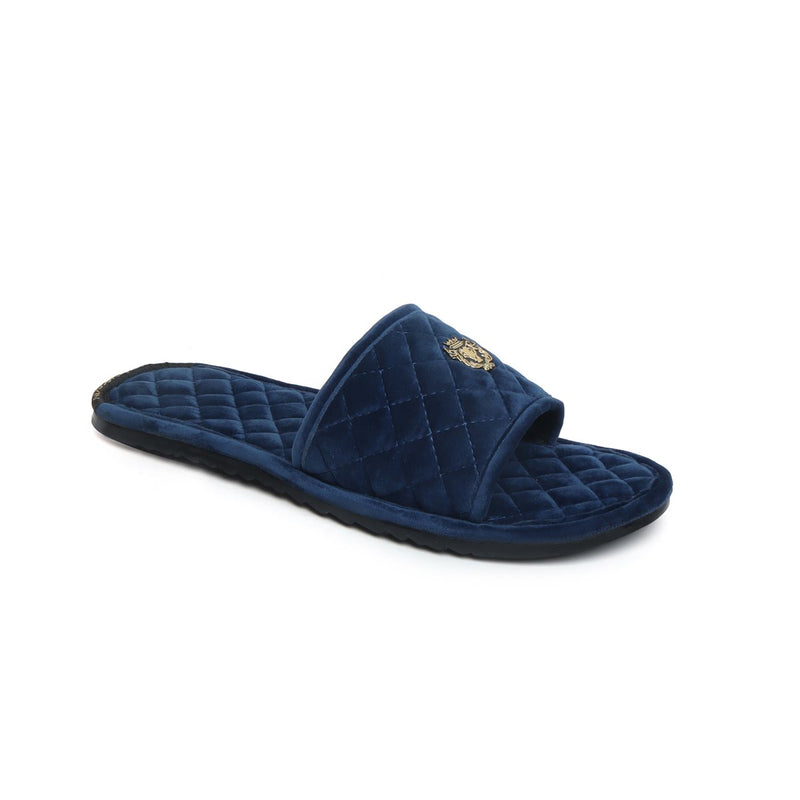 Blue Full Quilted Stitched Super Soft Italian Velvet Slide-in Slippers By Bareskin