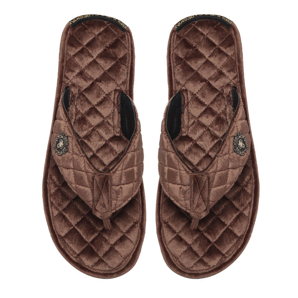 Brown Full Quilted Stitched V-Strap Soft Italian Velvet Slippers By Bareskin